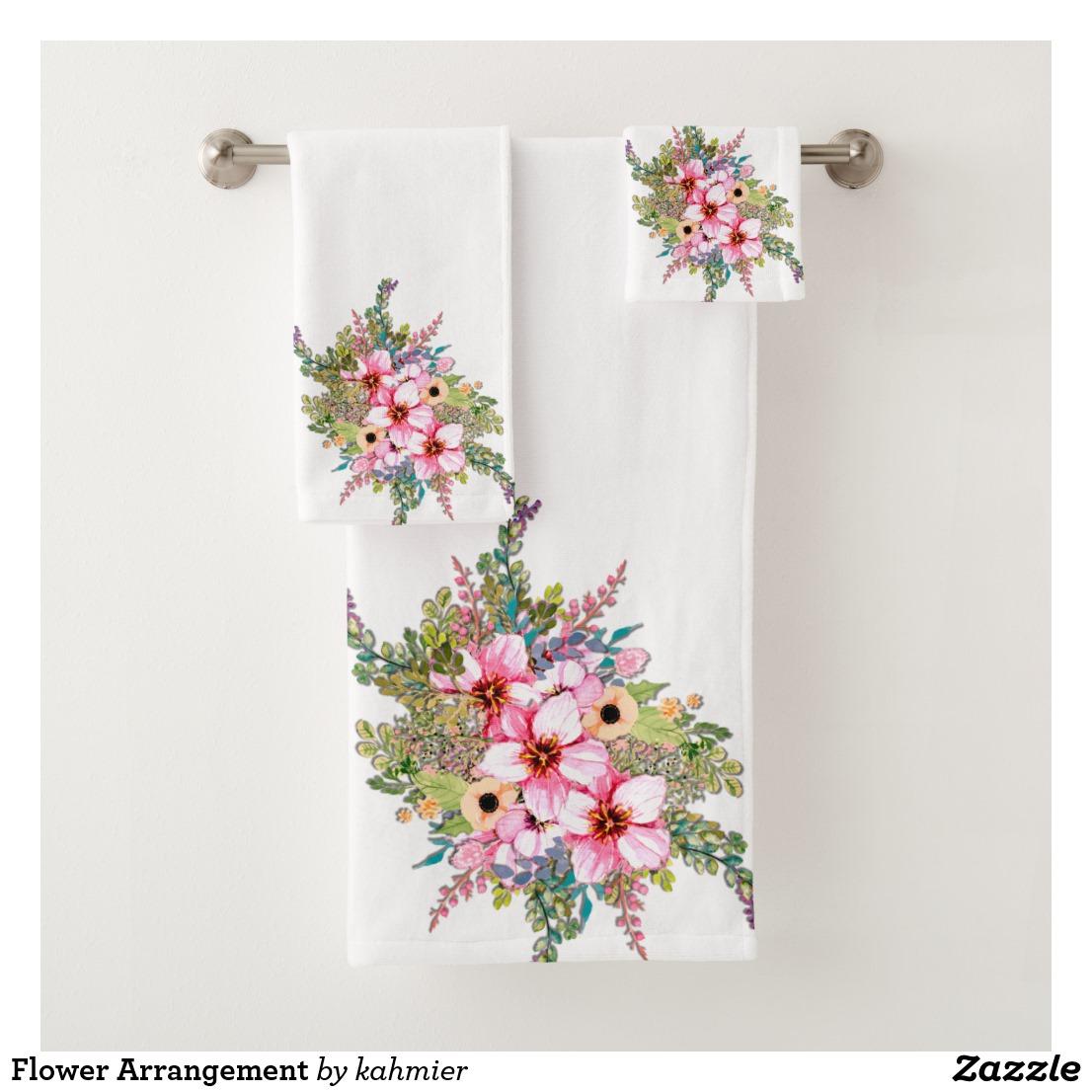 Flower Arrangement Bath Towel Set