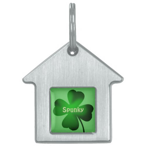 Four Leaf Clover Green Pet ID Tag