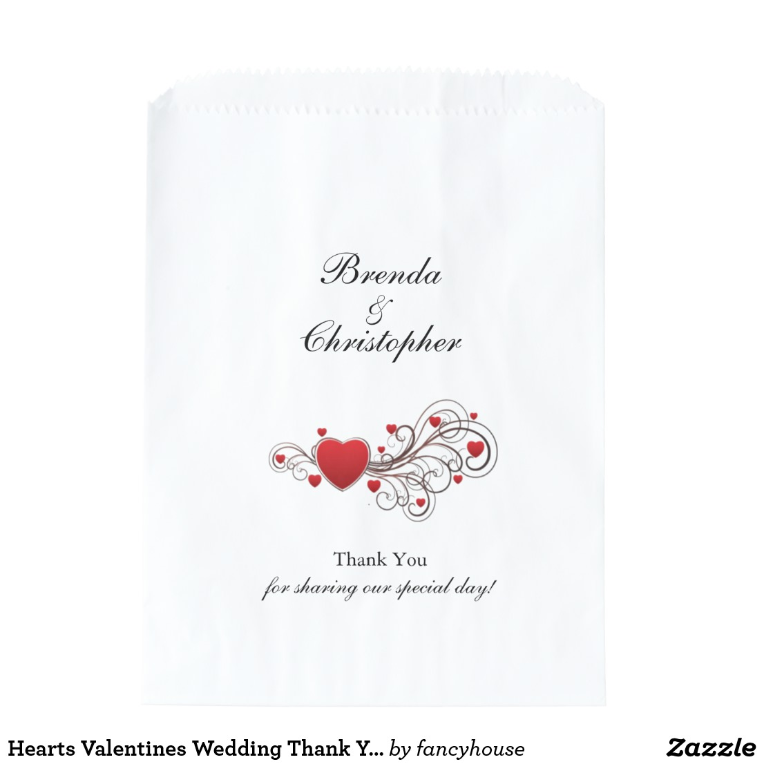 Hearts Valentines Wedding Thank You Favor Bags