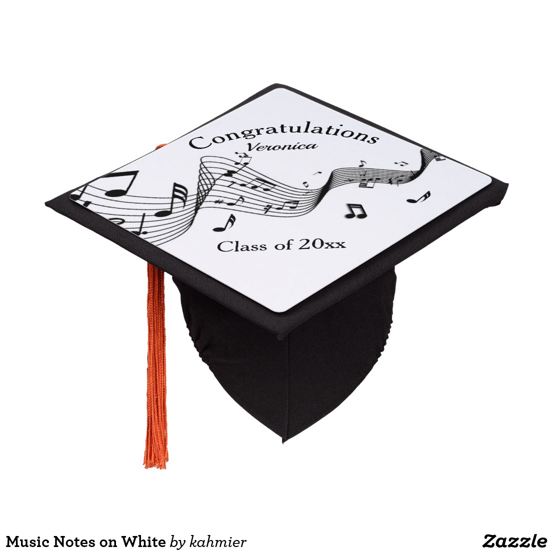 Music Notes on White Graduation Cap Topper