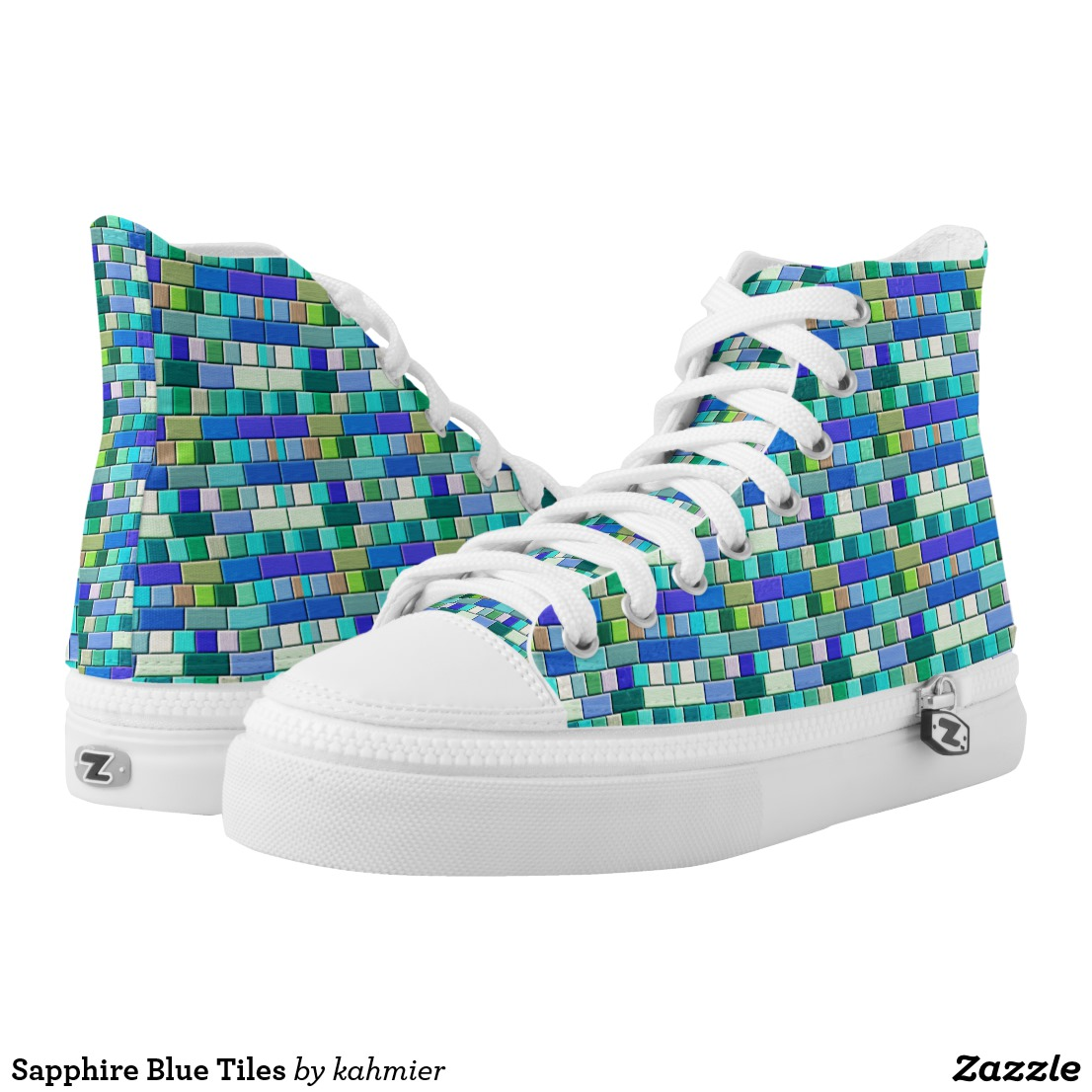 Sapphire Blue Tiles High-Top Sneakers