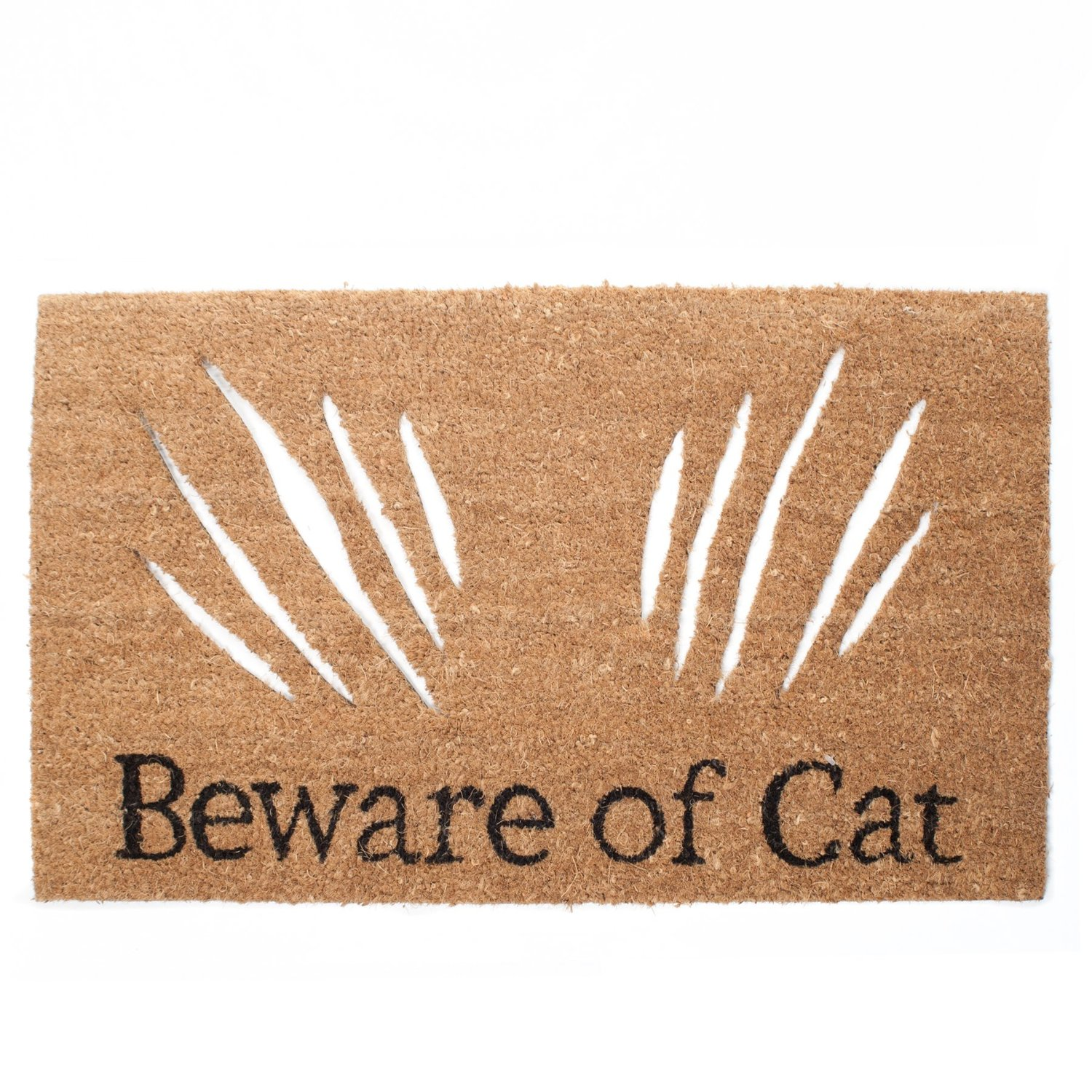 beware of cat door mat