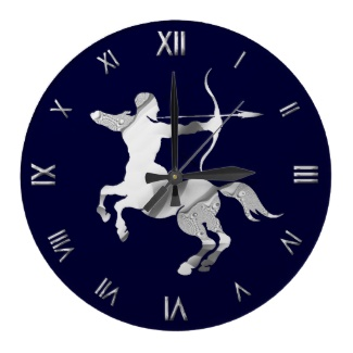 Sagittarius Silver Navy Zodiac Symbol Wall Clock