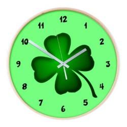irish_shamrock_four_leaf_clover_wall_clock