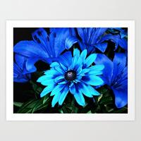 Blue flower print