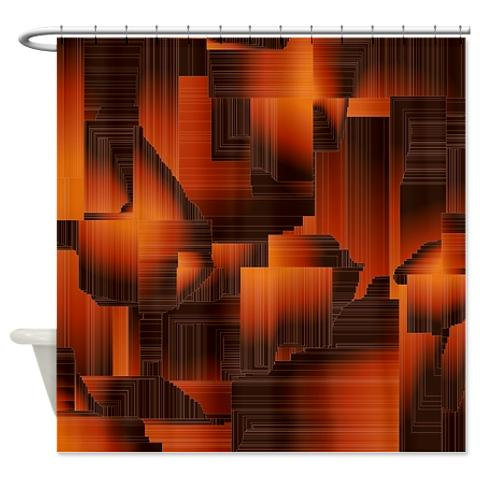Abstract Burnt Hallways Rust Color Shower Curtain New