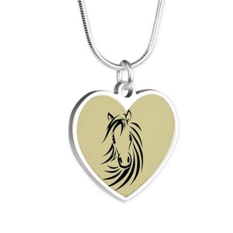Horse design heart necklace
