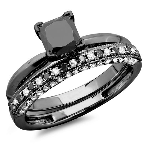 Amazon.com 1.50 Carat (ctw) Black Rhodium Plated 14K White Gold Black & White Diamond Bridal Ring
