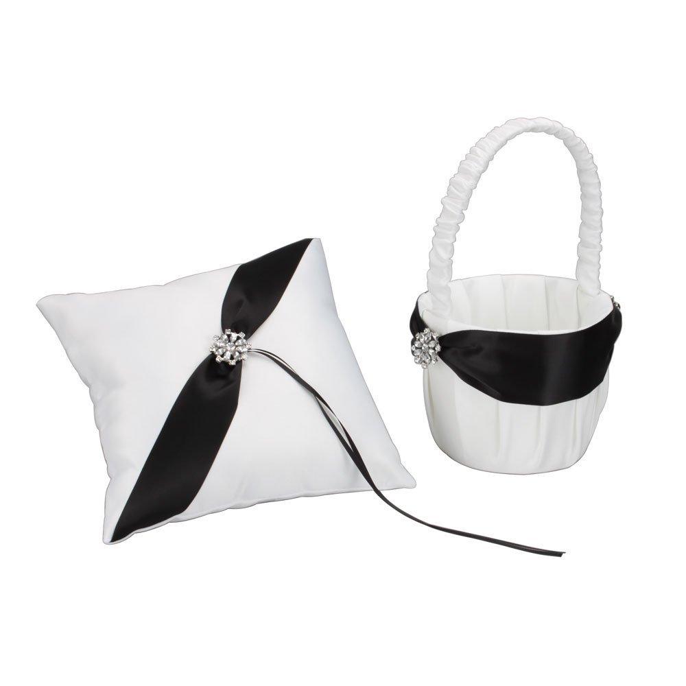 black and white wedding basket