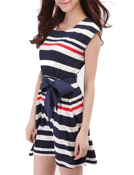 Blue White Red Striped Sailor Shirt Dress With Bowknot