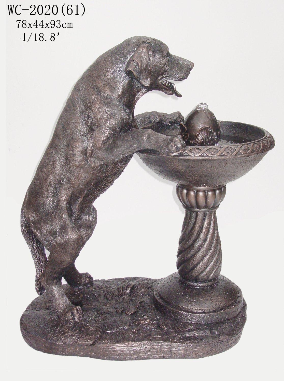 Labrador Dog Statue Sculpture Water Fountain