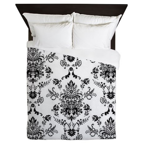 Black and White Damask Queen Duvet by LeatherwoodBedroomDuvet