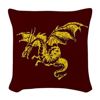 Gold Dragon on Maroon Woven Throw Pillow