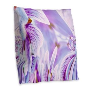 Purple Pansy Burlap Throw Pillow