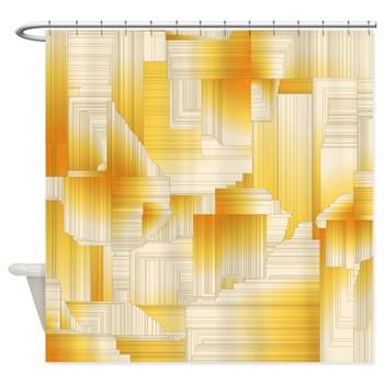 Yellow Art Deco Shower Curtain