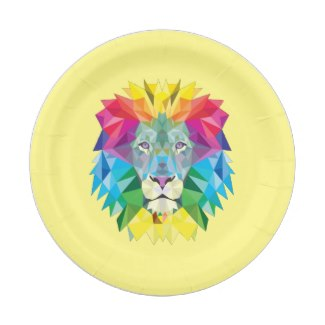 Geometric Lion Head Paper Plate