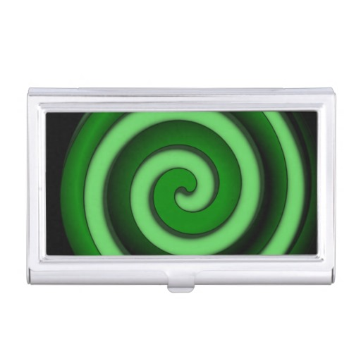 Green Spiral Zone Business Card Case