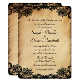 Rustic Lace Wedding Invitation