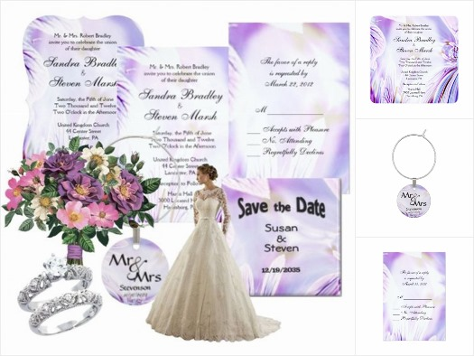 Abstract Pansy Wedding Invitation Suite