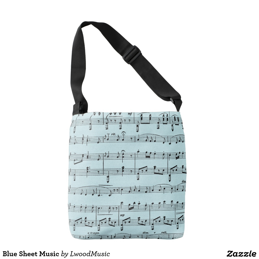 Blue Sheet Music Crossbody Bag