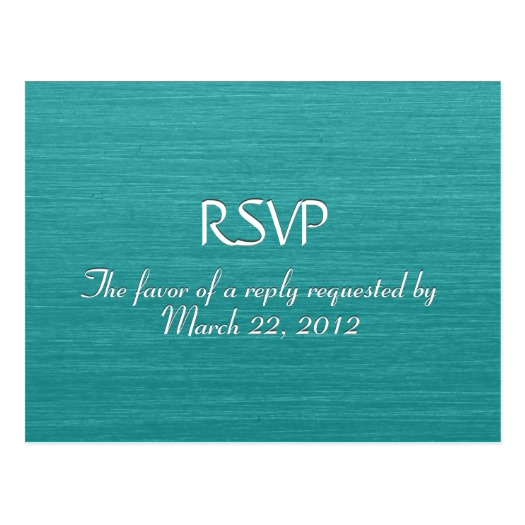 Brushed Teal Blue Menu RSVP Postcard
