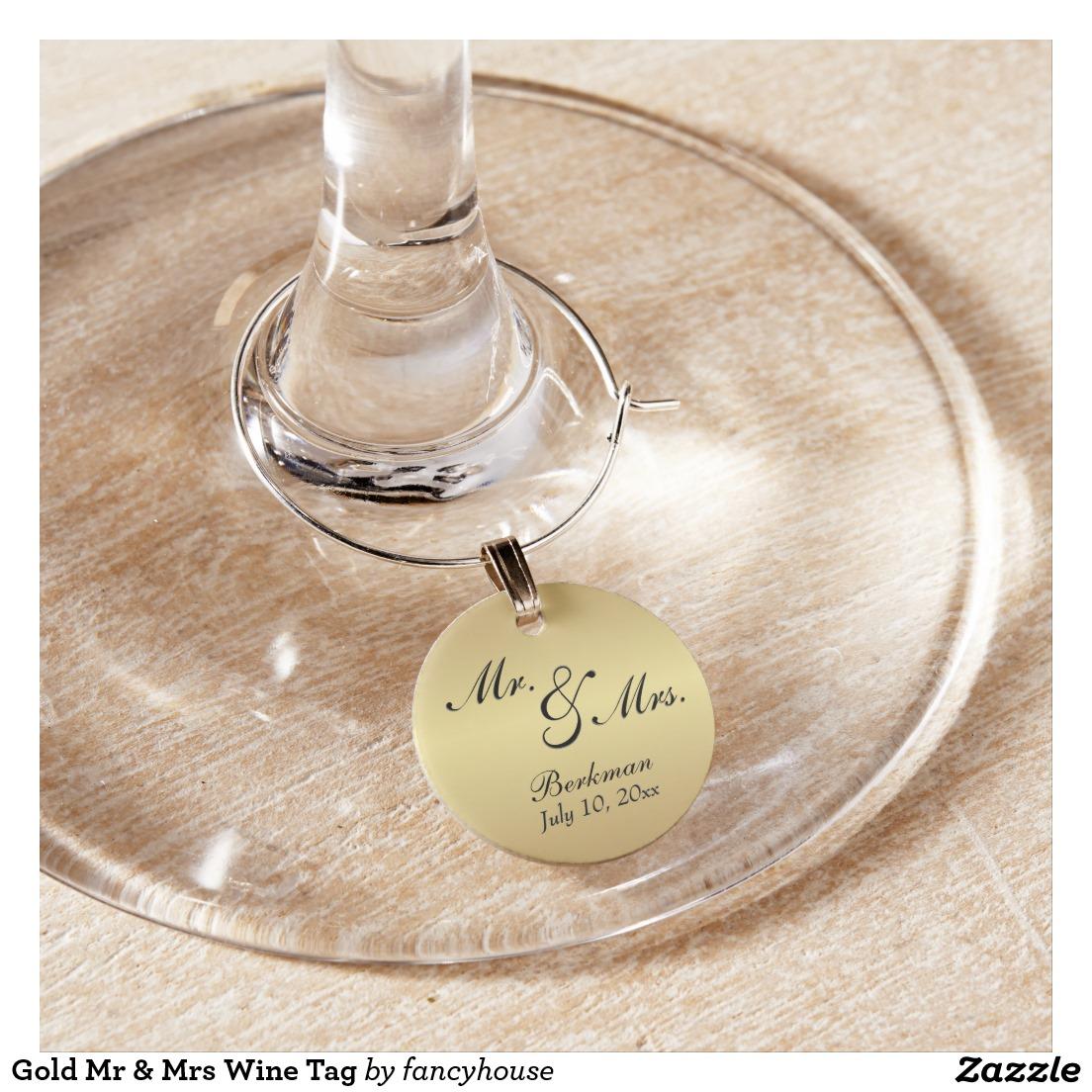 Gold Mr & Mrs Wine Tag Wine Glass Charm