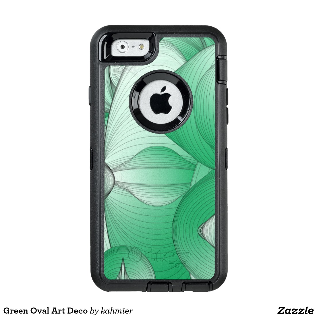 Green Oval Art Deco OtterBox Defender iPhone Case