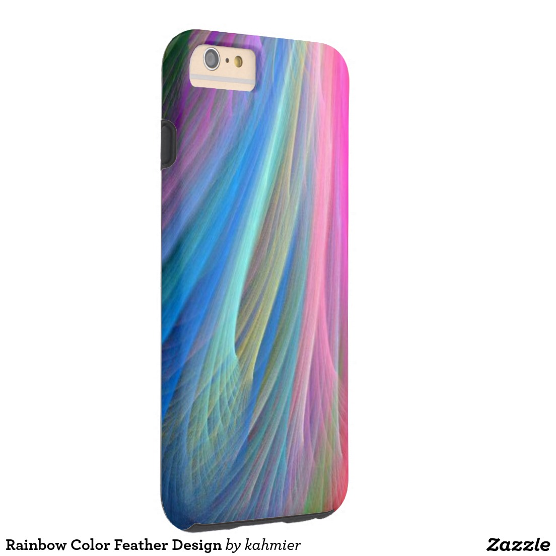 Rainbow Color Feather Design Tough iPhone 6 Plus Case