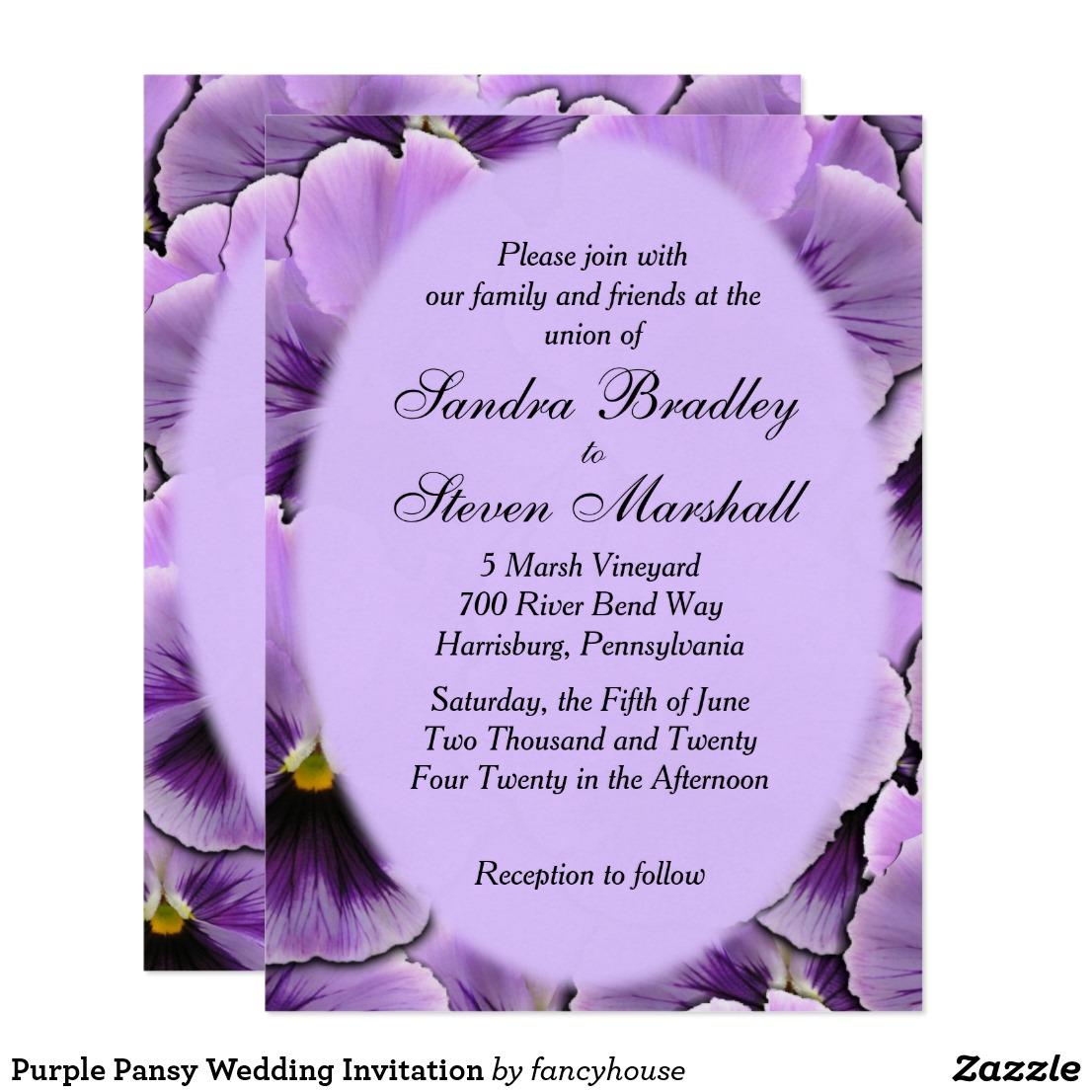 Purple Pansy Wedding Invitation