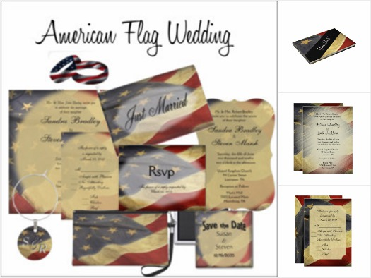 American Flag Wedding Invitation Suite