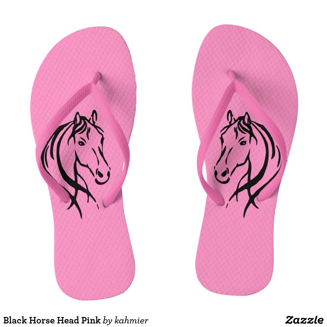 Black Horse Head Pink Flip Flops