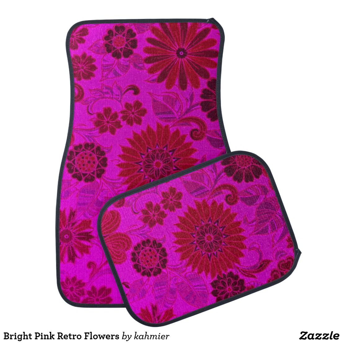 Bright Pink Retro Flowers Car Mat