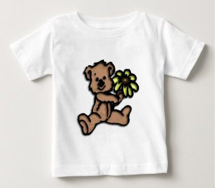 Daisy Bear Design Baby T-Shirt | Zazzle