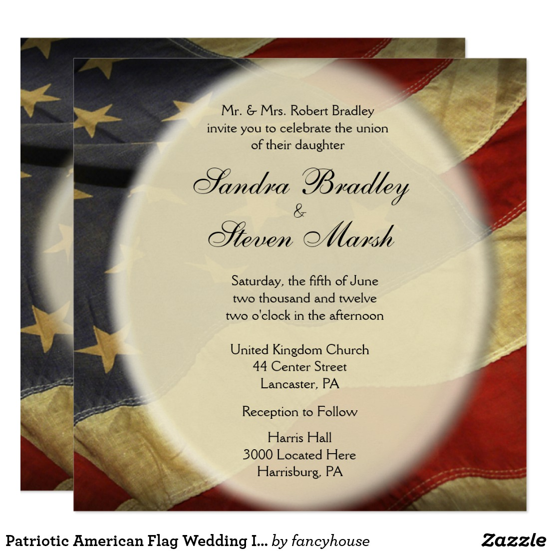 Patriotic American Flag Wedding Invitation