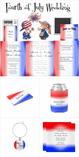 Patriotic Stripe Wedding Invitation Suite