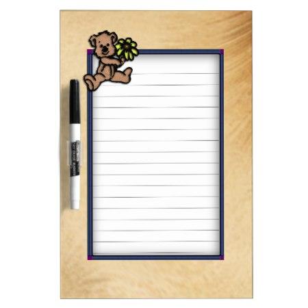 Rustic Daisy Bear Design Dry-Erase Board