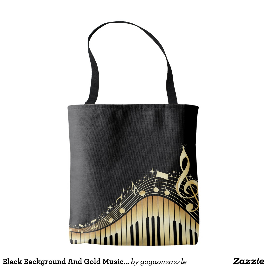 Black Background And Gold Musical Notes Tote Bag