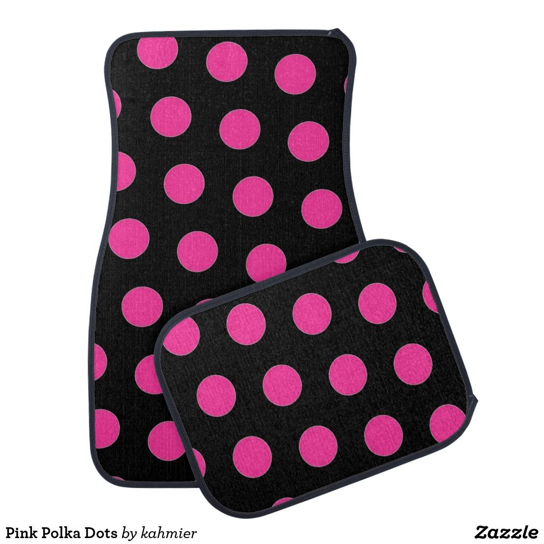 Pink Polka Dots Car Floor Mat