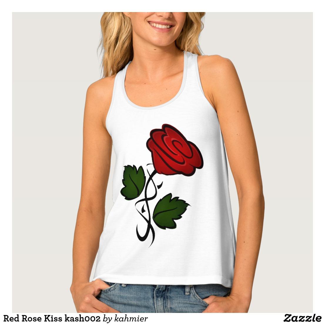 Red Rose Kiss kash002 Tank Top