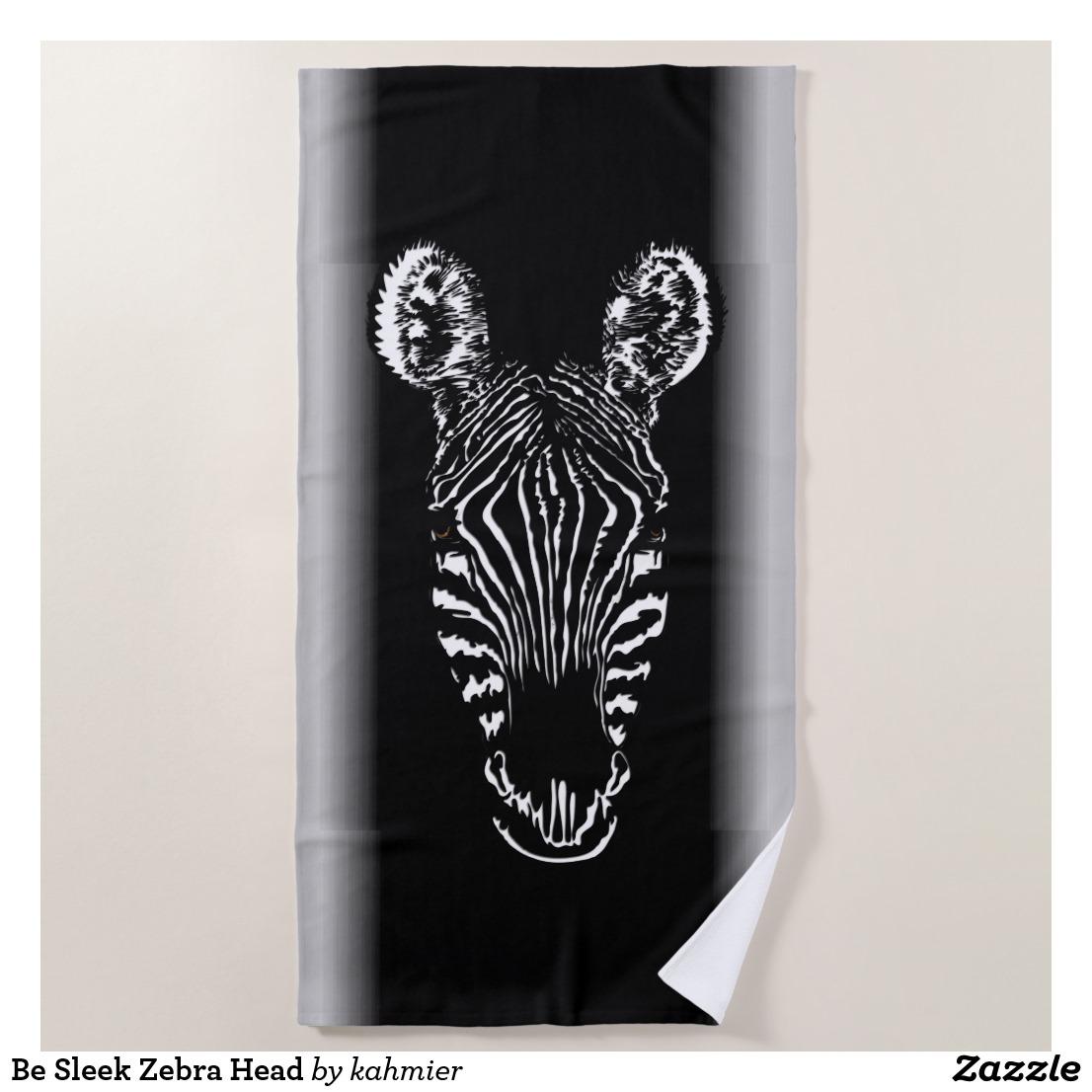 Be Sleek Zebra Head Beach Towel