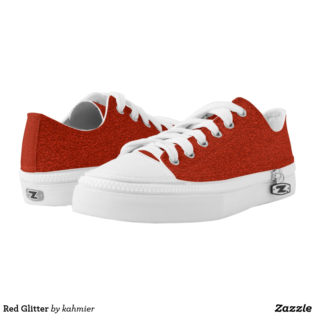 Red Glitter Low-Top Sneakers