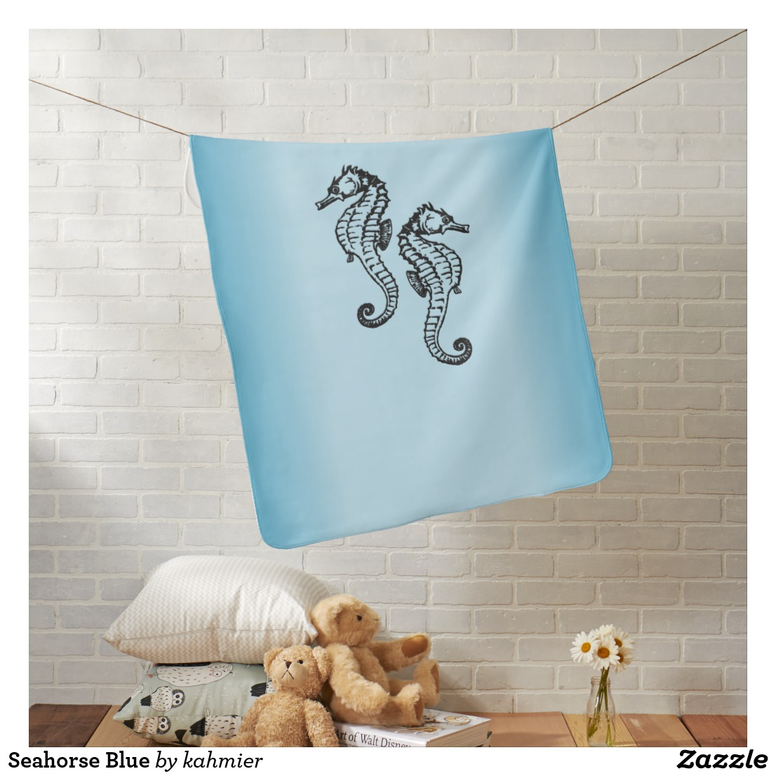 Seahorse Blue Receiving Blanket