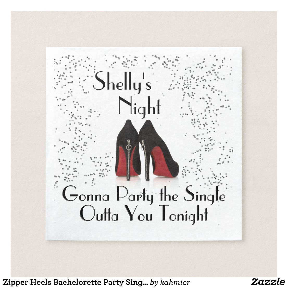 Zipper Heels Bachelorette Party Single Out Napkins