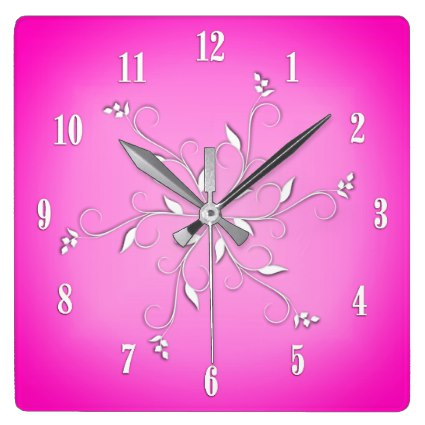 Pink White Numbers Vine Accents Square Wall Clock
