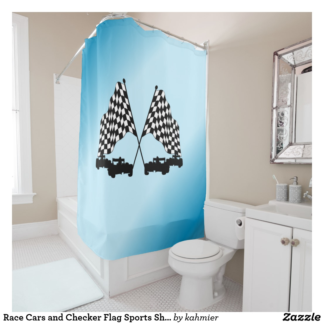 Race Cars and Checker Flag Sports Shower Curtain
