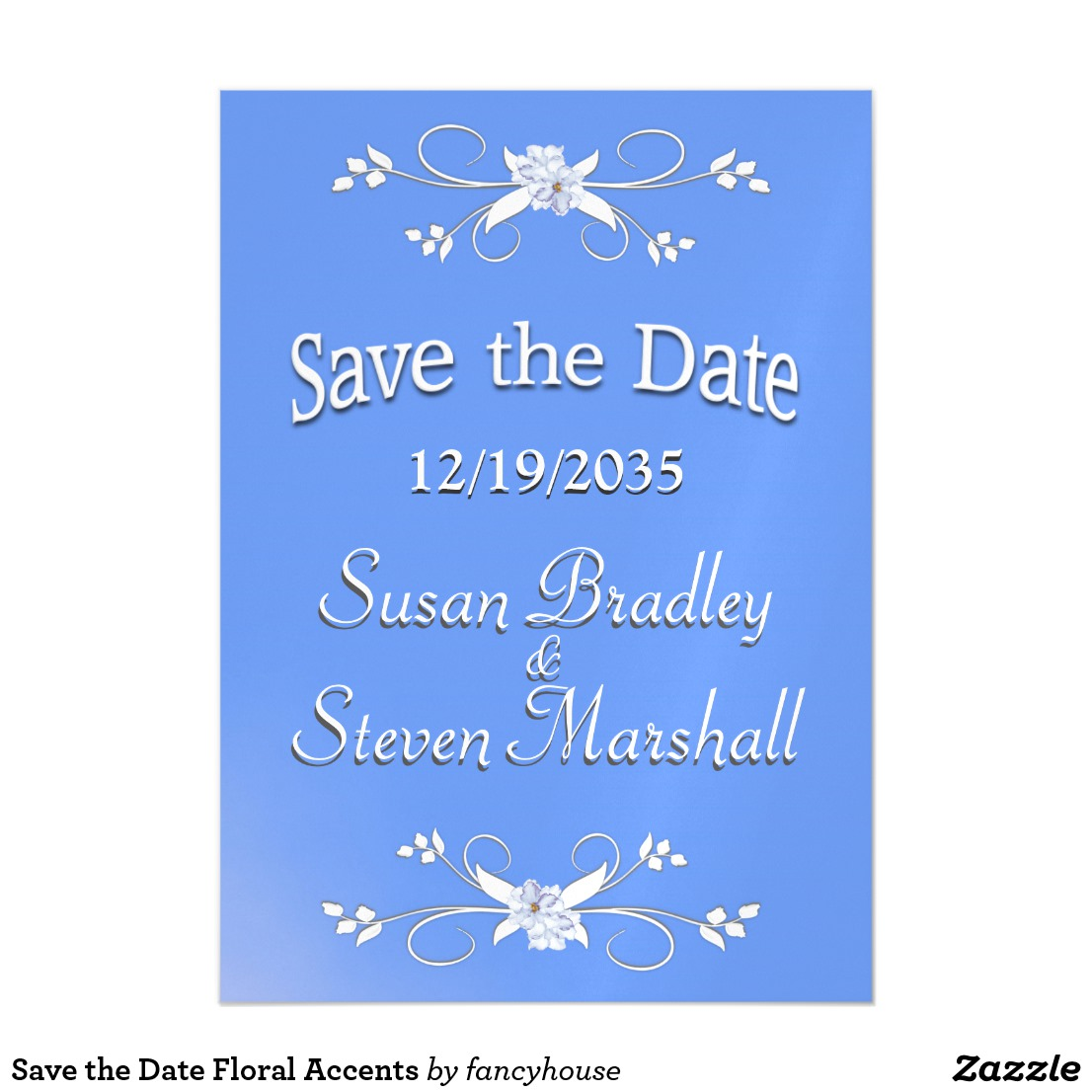 Save the Date Floral Accents Magnetic Card