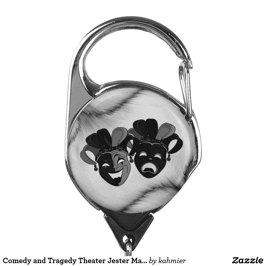 Comedy and Tragedy Theater Jester Masks Silver Badge Holder