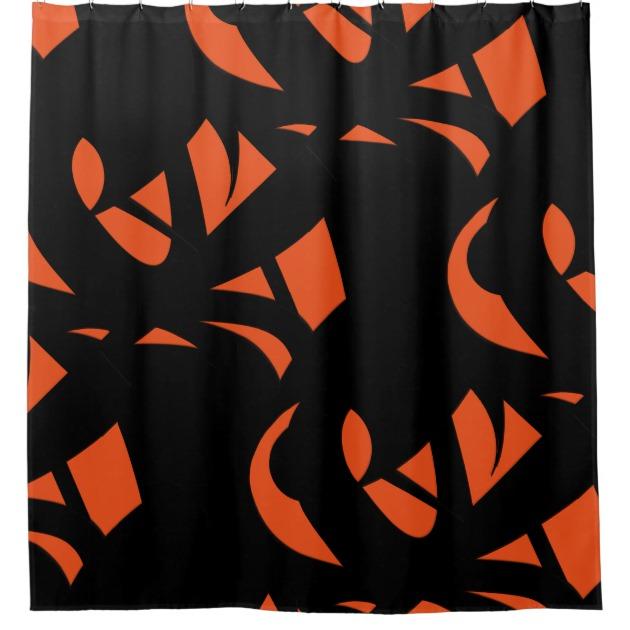 Contemporary Art Orange Black Shower Curtain