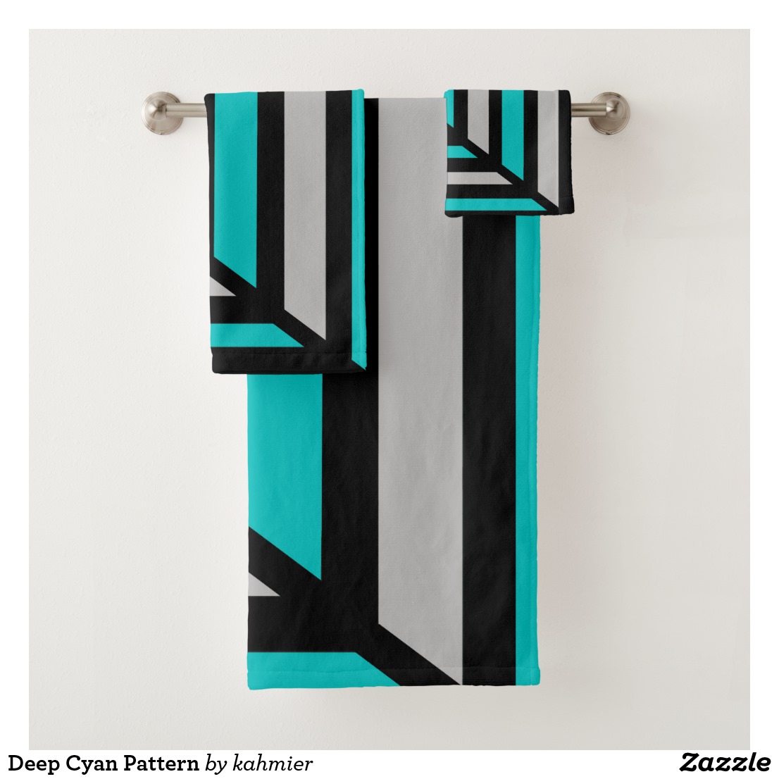 Deep Cyan Pattern Bath Towel Set