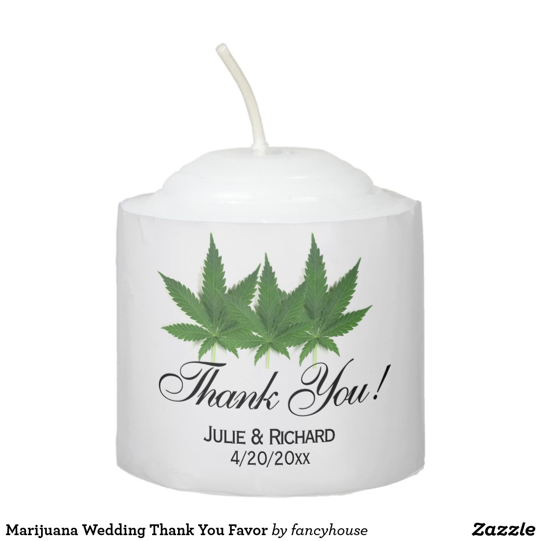 Marijuana Wedding Thank You Favor Votive Candle
